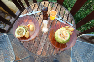 A meal of potatoes and courgettes